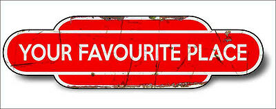 Train Station Aged Retro Vintage Sign Train Aluminium 30x16cm RED Any Name!