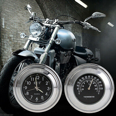 """7/8"""" 1"""" Motorcycle Accessory Handlebar Mount Clock Watch & Thermometer For Harle"""