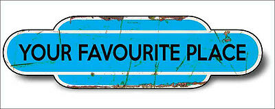 Train Station Aged Retro Vintage Old Train Aluminium 30x16cm LIGHT BLUE Any Name