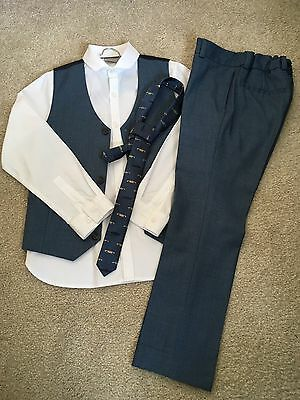 Boys Next Signature Grey Trousers, Waistcoat, White Shirt, Tie. Worn Once. 7/8