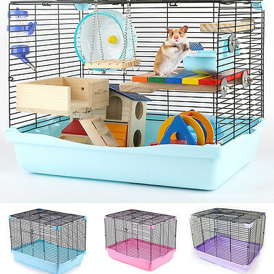 Large Hamster Hedgehog Squirrel Guinea Pig Home Travel Carry Cage Two Door