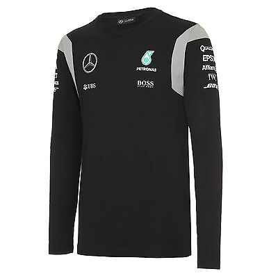 OFFICIAL F1 Mercedes AMG Team T-shirt Long Sleeve Top Hamilton BLACK - NEW
