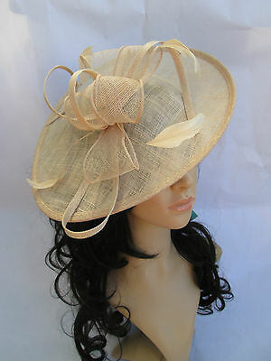 NEW NUDE SINAMAY & FEATHER FASCINATOR HAT.Shaped saucer disc,Wedding.