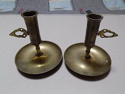 Pair of Brass Candlestick Holders Adjustable Height Used Good Condition