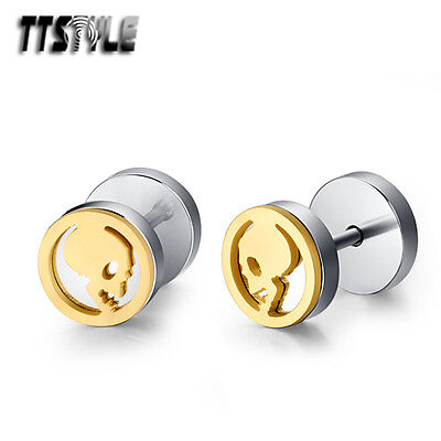 TTstyle Silver/Gold 8mm Round Stainless Steel Skull Fake Ear Plug Earrings Pair
