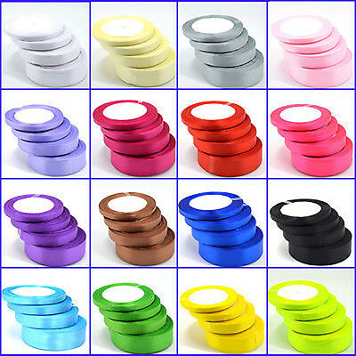 20m Double Sided Satin Ribbon Reels 6mm 10mm Full Roll Wedding Present Gift Wrap