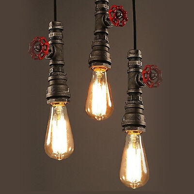 Modern Vintage Industrial Hanging Pipe Ceiling Lamp Pendant Light Shade Loft E27