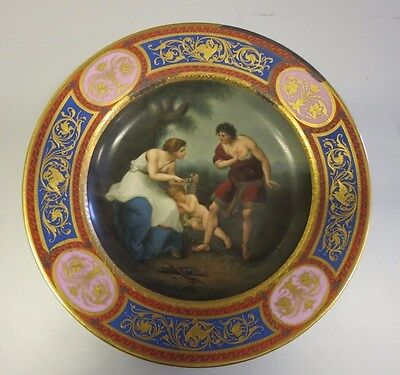 C19th Royal Vienna Hand Painted Porcelain Plate Cephisa Clipping Cupid's Wings