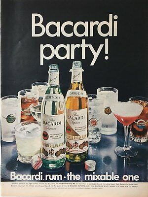 1968  BACARDI PARTY The Mixable One Coca Pepsi &-UPPRINT AD