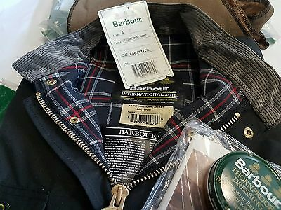 Barbour International 80s Vintage Waxed Jacket A7 C46 117cm W/Pile New W/Tags