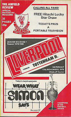 Football Programme - Liverpool v Tottenham Hotspur Nov 1979  League Div 1