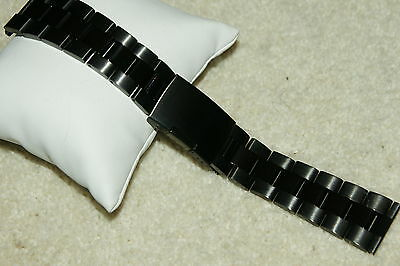 Black PVD Stainless Steel solid 317L Spring Loaded Watch Strap 18-24mm Bars Tool