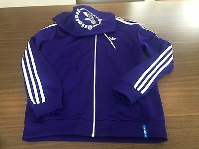 Men's Purple Adidas Tracksuit Top With Hood - Size M