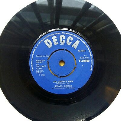 """Small Faces 7"""" Single Vinyl Rare My Minds Eye I Cant Dance With You Irish Press"""