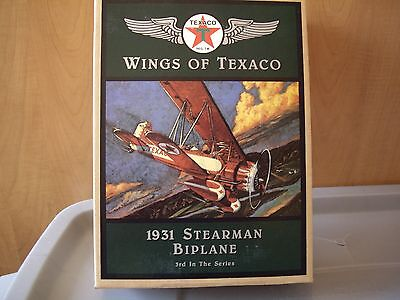 1995 Wings Of Texaco Die-Cast Coin Bank #3 - 1931 Stearman Biplane