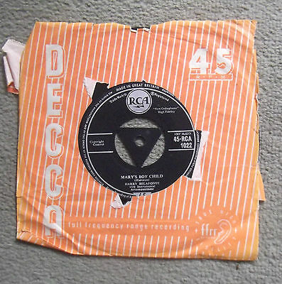 HARRY BELAFONTE  ''MARY'S BOY CHILD / EDEN WAS JUST LIKE THIS''  45rpm SINGLE