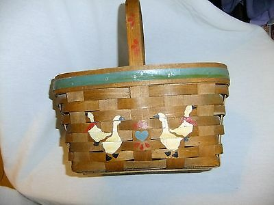 Vintage Longaberger Basket W/ Ducks Hand Painted Woven Signed Dated 1984 MS