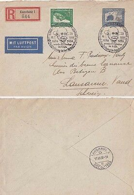 Germany 1938  Registered cover 1838-1938 Count Zeppelin d.s. at Konstanz