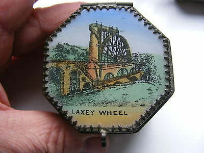 Antique Vintage Laxey Wheel Isle Of Man Trinket Box Painted Glass Top
