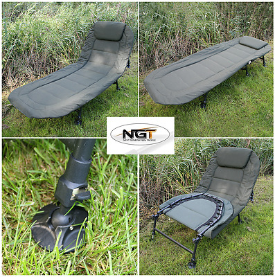 Ngt Deluxe Carp Fishing Bedchair 6 Leg Recliner With Pillow Bed Chair