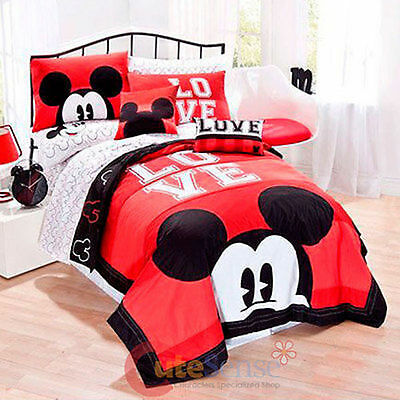 NEW Disney Mickey Mouse Classic Luv 3 Pc. Full/Queen Bedding Comforter Quilt Set