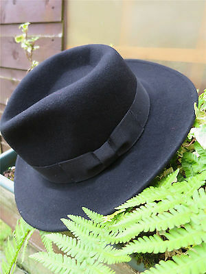 1940s Forties Style Black 100% Wool Fedora, Large Trilby Gangster Hat sz L