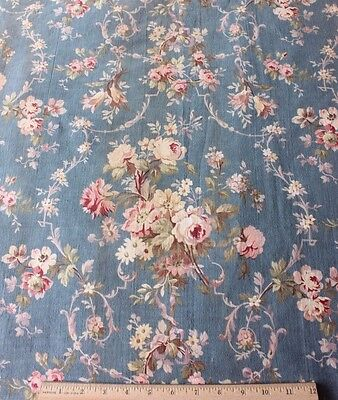 Lovely Roses & Ribbons French Antique c1870-1880 Cotton Home Textile Fabric