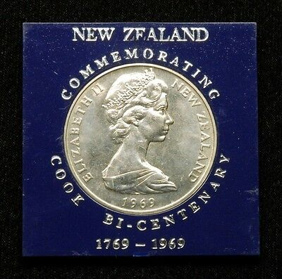 "New Zealand 1 Dollar 1969 Coin ""Cook Bicentennial"" in Plastic Case"