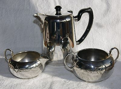 Vintage Silver Plated Coffee Pot And Milk And Sugar Bowls