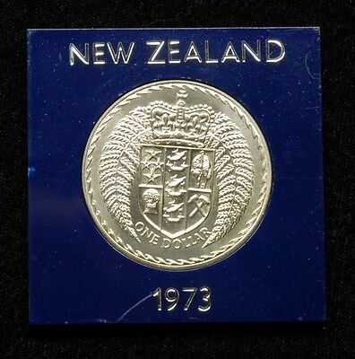 New Zealand 1 Dollar 1973 Coin in Plastic Case