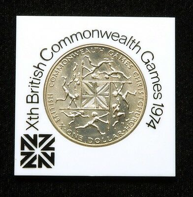 "New Zealand ""British Commonwealth Games"" 1 Dollar 1974 Coin in Plastic Case"