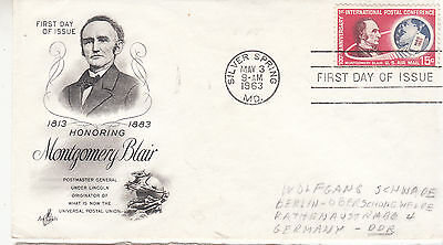 UNITED STATES 1963 Montgomery Blair FDI Cover to DDR Germany