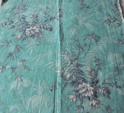 Antique French Tropical Turquoise Green Home Dec Textile Fabric Sample c1870