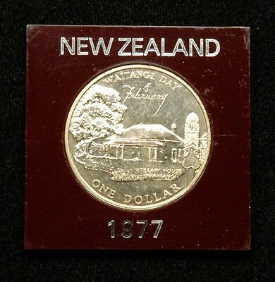New Zealand 1 Dollar 1977 Coin in Plastic Case