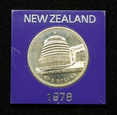 New Zealand 1 Dollar 1978 Coin in Plastic Case