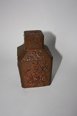 An old Chinese or Japanese gilded pewter/lead tea caddy