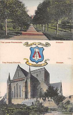 Vintage Postcard The Lower Promenade BRECON The Priory Church & Coat of Arms