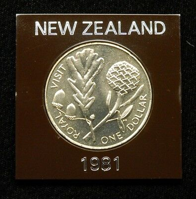"New Zealand ""Royal Visit"" 1 Dollar 1981 Coin in Plastic Case"