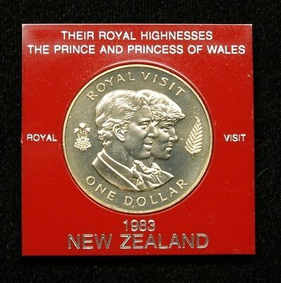"New Zealand ""Charles and Diana Royal Visit"" 1 Dollar 1983 Coin in Plastic Case"