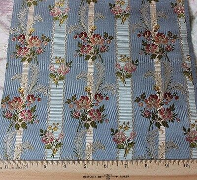 "Antique French 19thC Silk Brocaded Lampas Textile Fabric Sample~19""L X10 1/2""W"