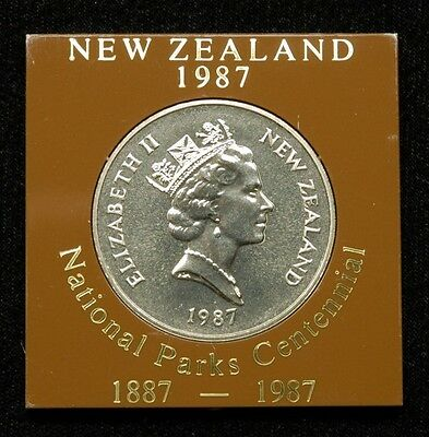 "New Zealand ""National Parks Centennial"" 1 Dollar 1987 Coin in Plastic Case"