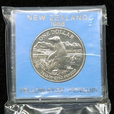 "New Zealand ""Yellow-Eyed Penguin"" 1 Dollar 1988 Coin in Plastic Case"