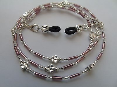 Handmade Lilac Beaded Spectacle / Glasses Chain / Necklace.
