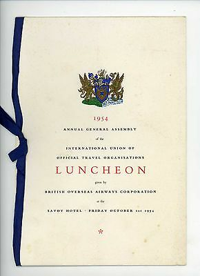B.O.A.C. Luncheon Menu Card 1954 given for International Union Travel
