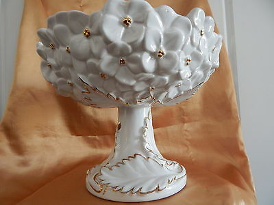 Made in Italy-Italian Footed Pedestal Bowl /Compote / Fruit Bowl Dish-Gold Gilt