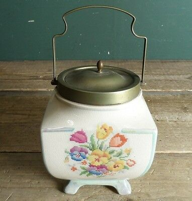 Vintage Kitchenalia Floral Ceramic Sandland Ware Biscuit Barrel