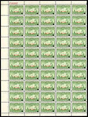 COSTA RICA #177-8 Columbus. Rare Panes of 50 Stamps with Specimen Ovpt. Mint NH!