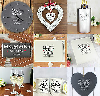 Personalised Mr And & Mrs Message Wedding Engagement Gift Idea For Anniversary