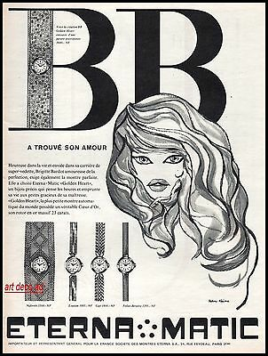 1960  - Brigitte BARDOT Eterna Matic Watch ad Original vintage advertising