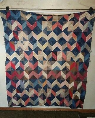 Vintage Circa 1890-1900s Tumbling Block Quilt Top - INDIGO BLUE FABRIC